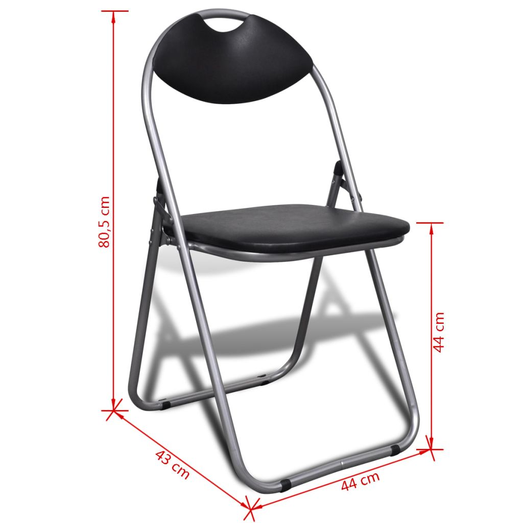 Folding Dining Chairs 6 pcs Black Faux Leather and Steel 10