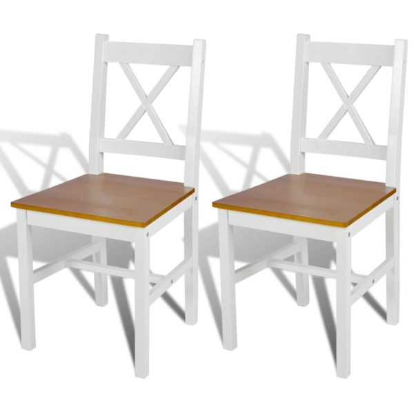 Dining Chairs 2 pcs White Pinewood 1