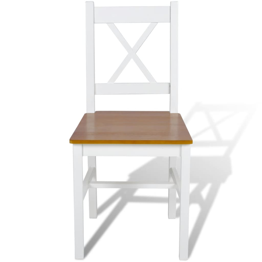 Dining Chairs 2 pcs White Pinewood 2