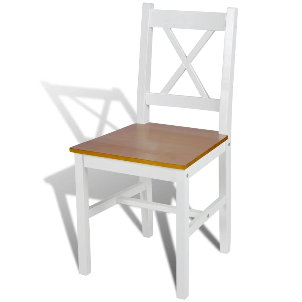 Dining Chairs 2 pcs White Pinewood 3