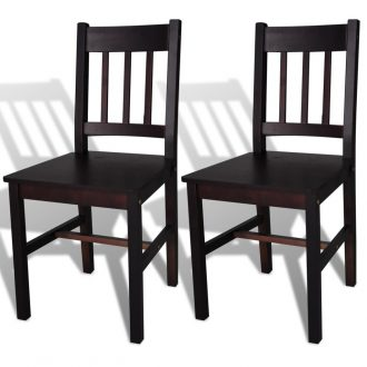 Dining Chairs 2 pcs Brown Pinewood 1