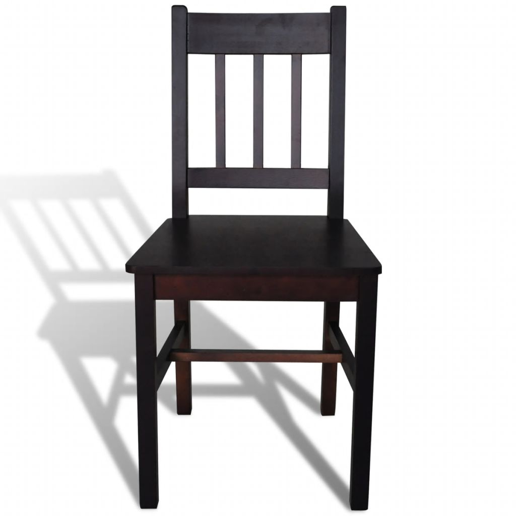 Dining Chairs 2 pcs Brown Pinewood 3