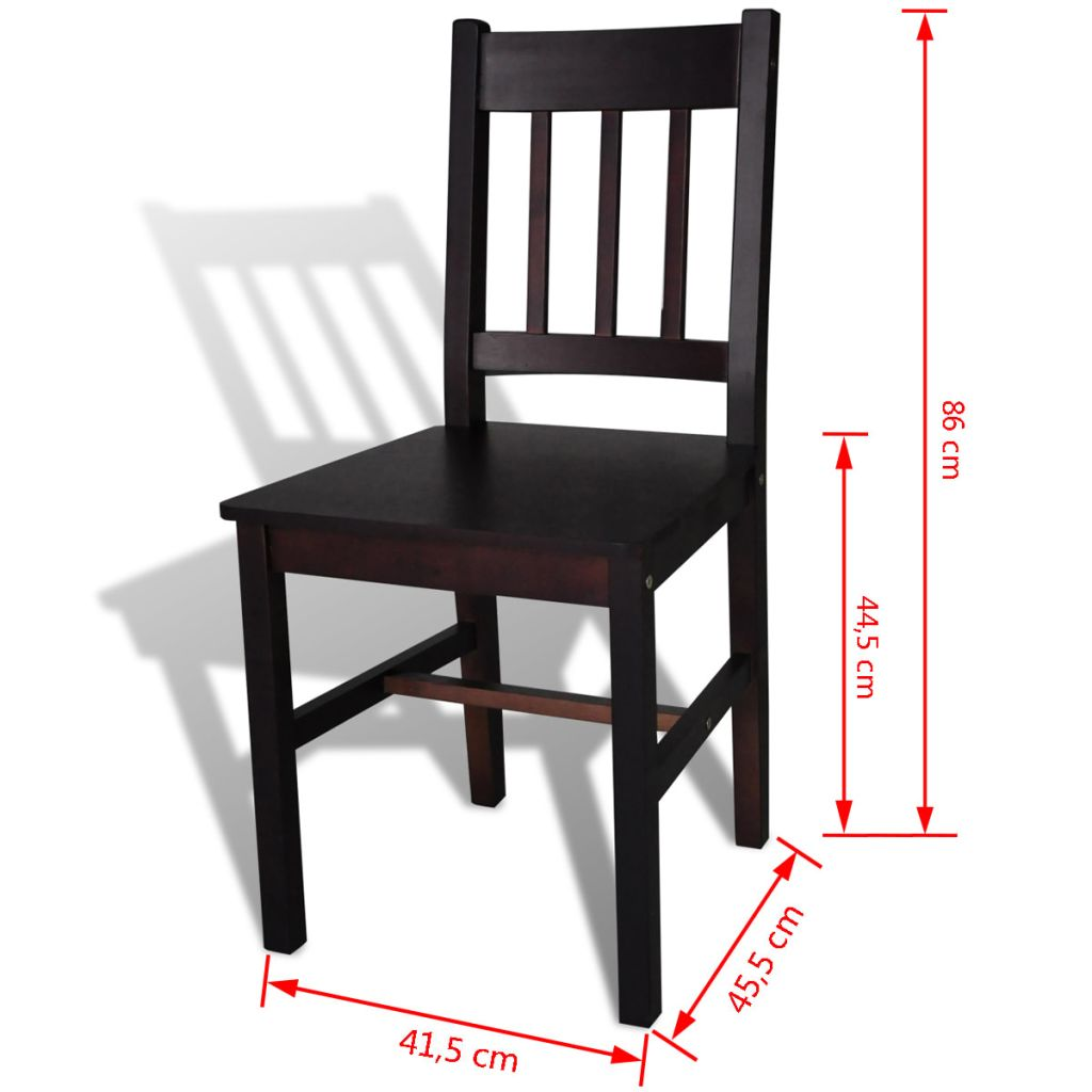 Dining Chairs 2 pcs Brown Pinewood 5