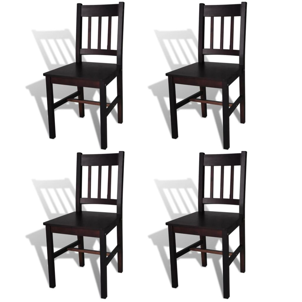Dining Chairs 4 pcs Brown Pinewood 1