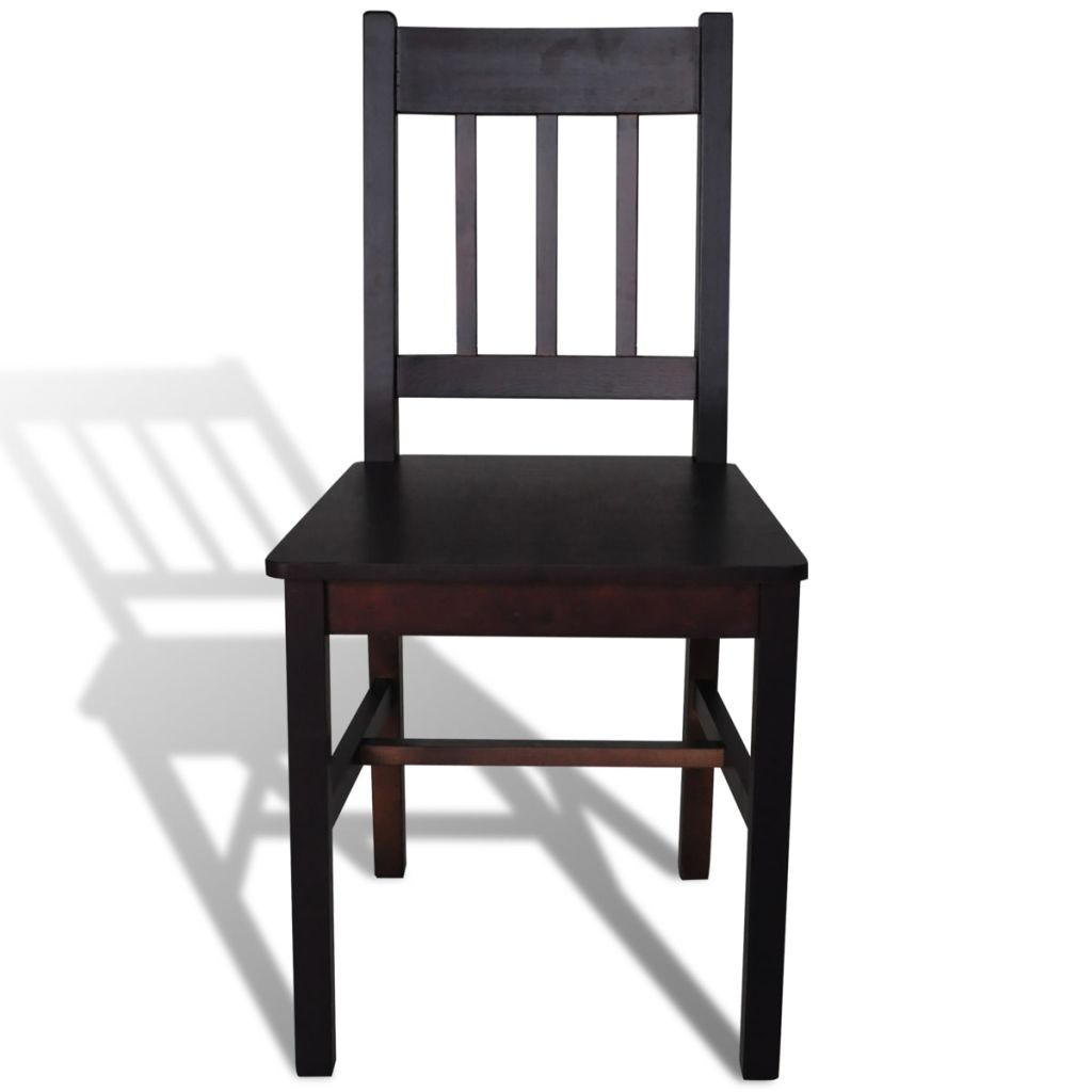 Dining Chairs 4 pcs Brown Pinewood 3