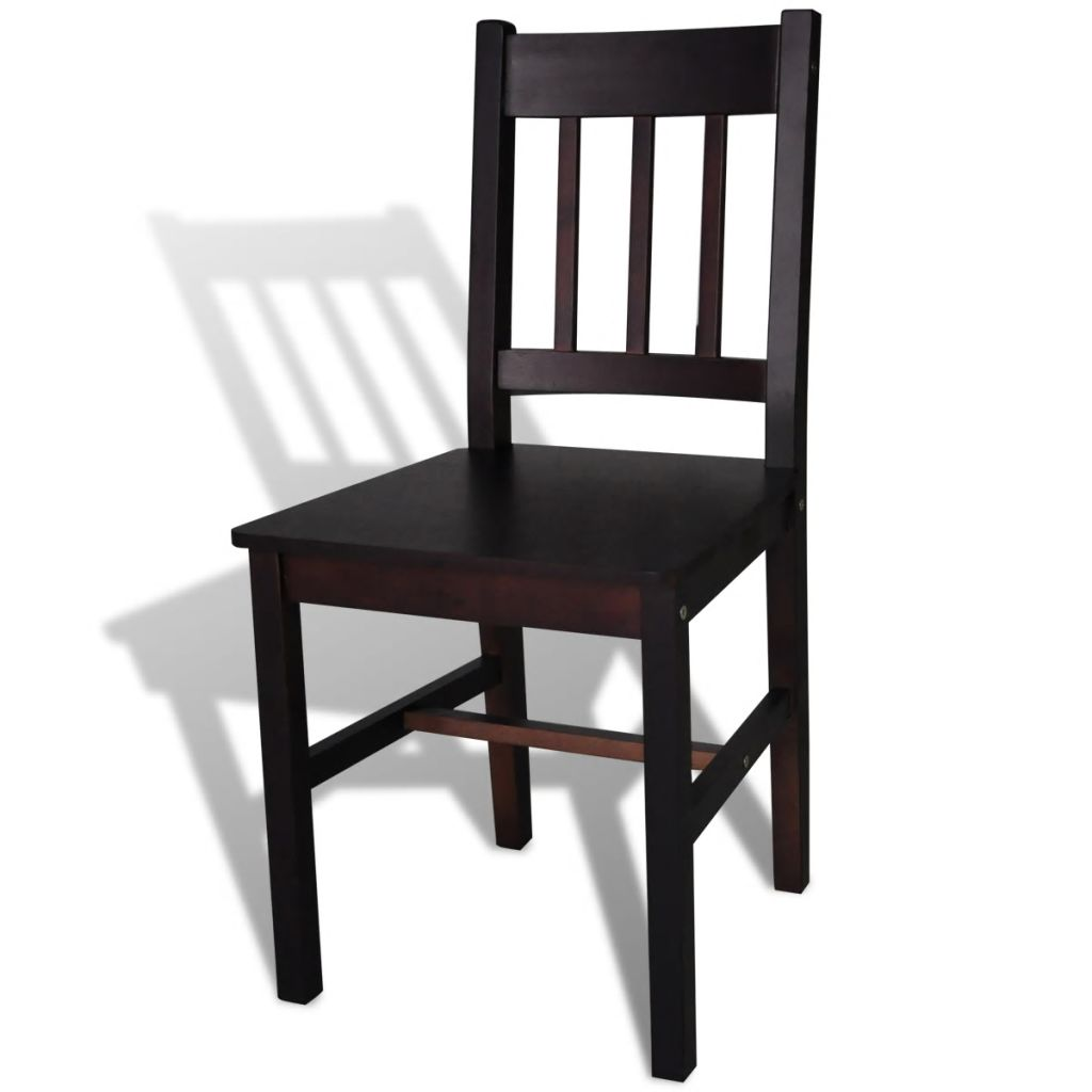Dining Chairs 4 pcs Brown Pinewood 4