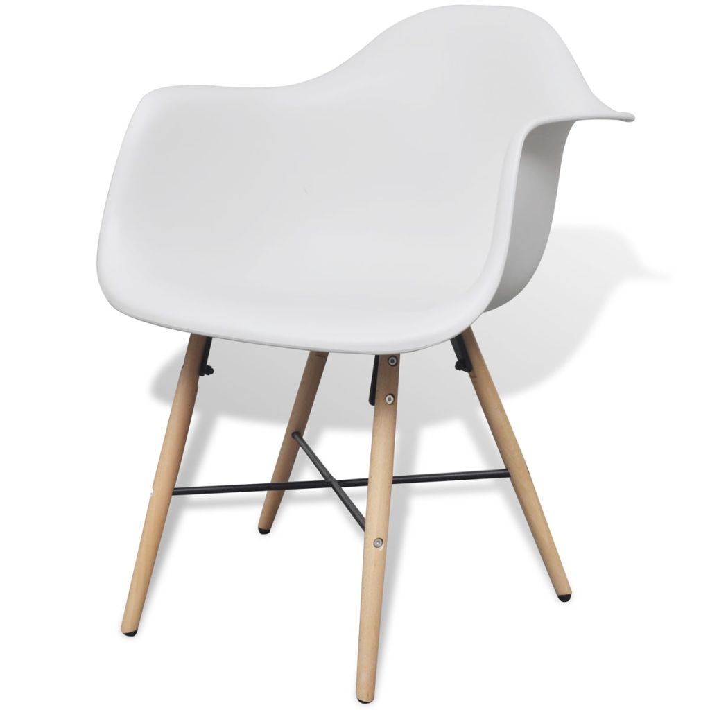 Dining Chairs 6 pcs White Plastic and Beechword 3