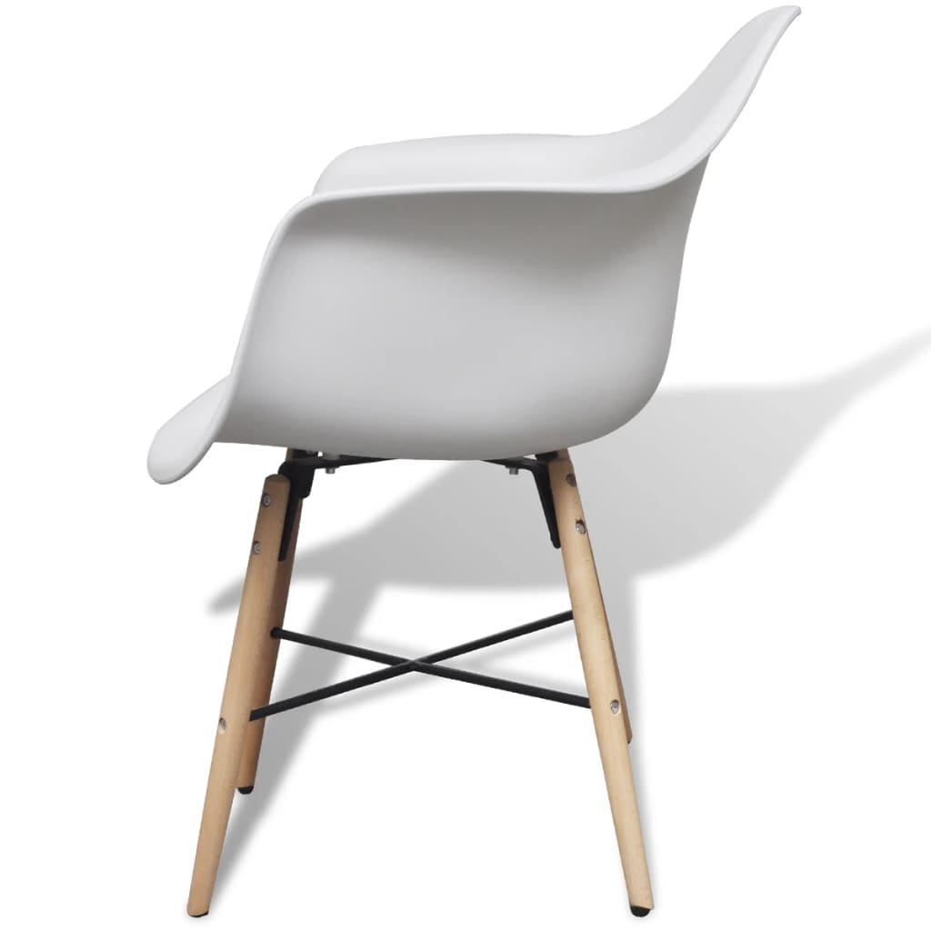 Dining Chairs 6 pcs White Plastic and Beechword 4