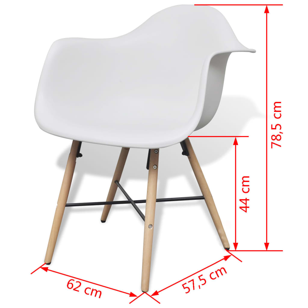 Dining Chairs 6 pcs White Plastic and Beechword 6