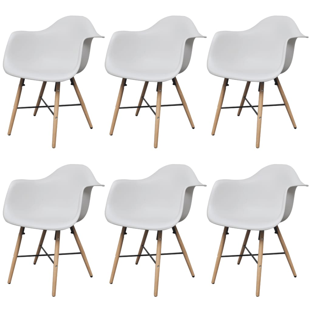Dining Chairs 6 pcs White Plastic and Beechword 1