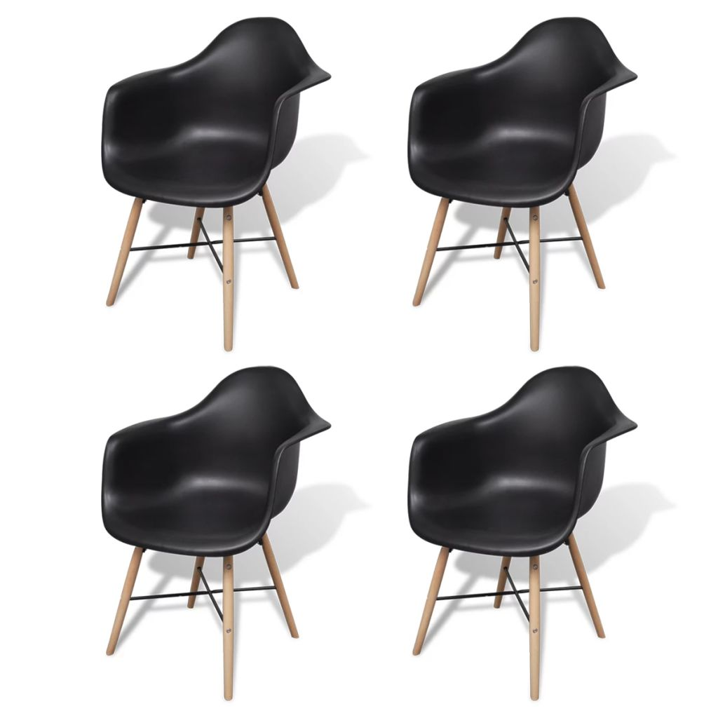 Dining Chairs 4 pcs Black Plastic and Beechword 2
