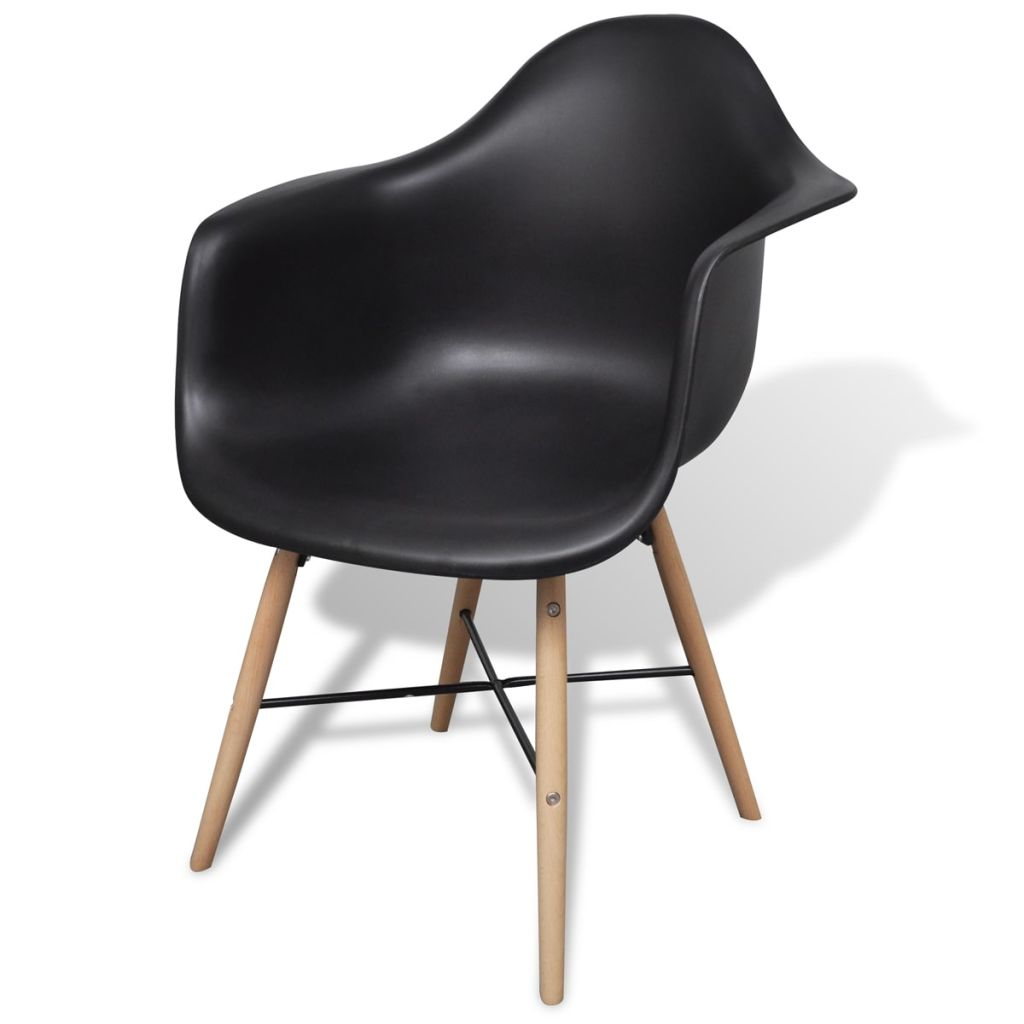 Dining Chairs 4 pcs Black Plastic and Beechword 3