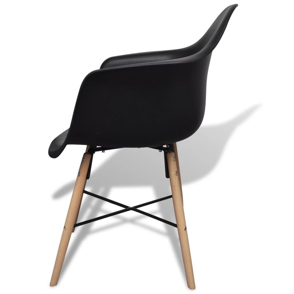 Dining Chairs 4 pcs Black Plastic and Beechword 4