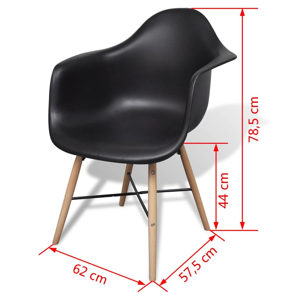 Dining Chairs 4 pcs Black Plastic and Beechword 6