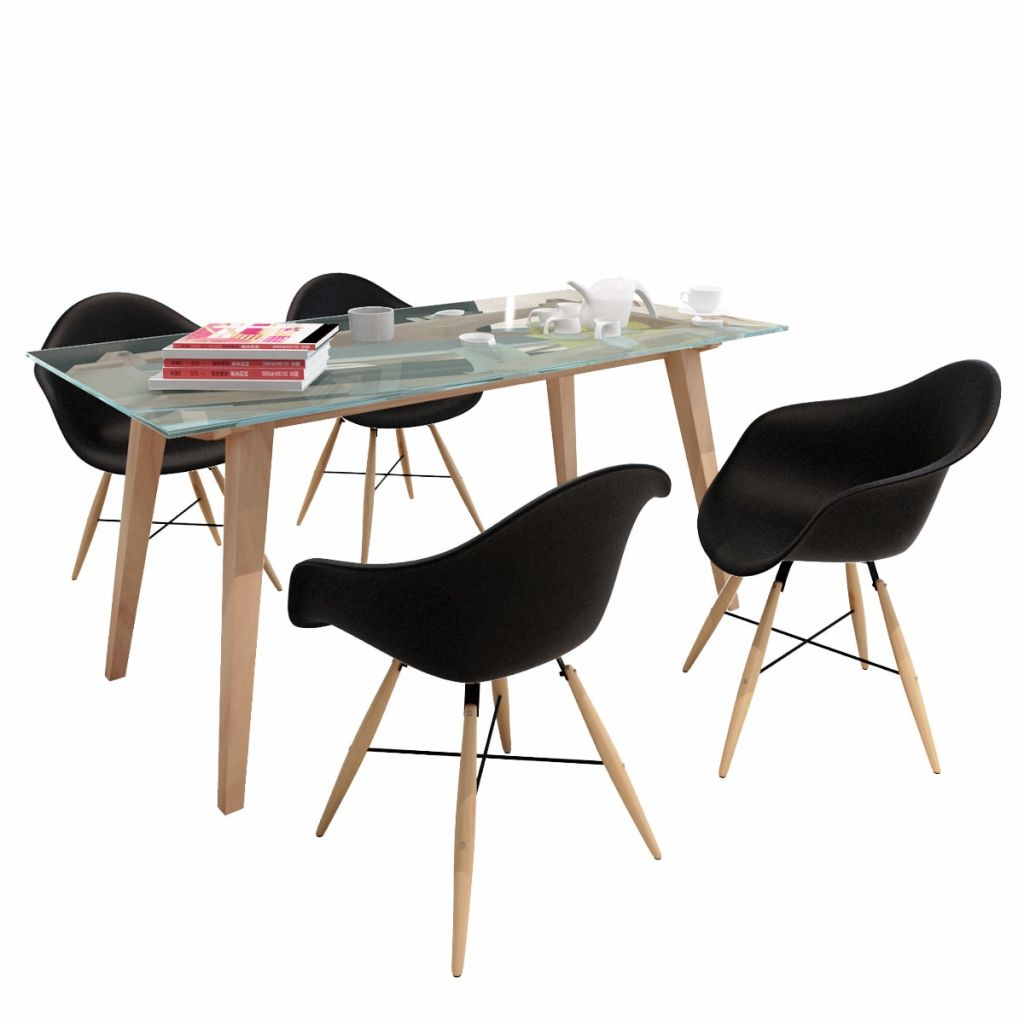 Dining Chairs 4 pcs Black Plastic and Beechword 1