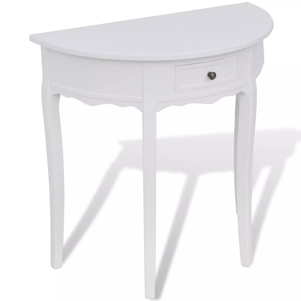 Console Table with Drawer Half-round White 1