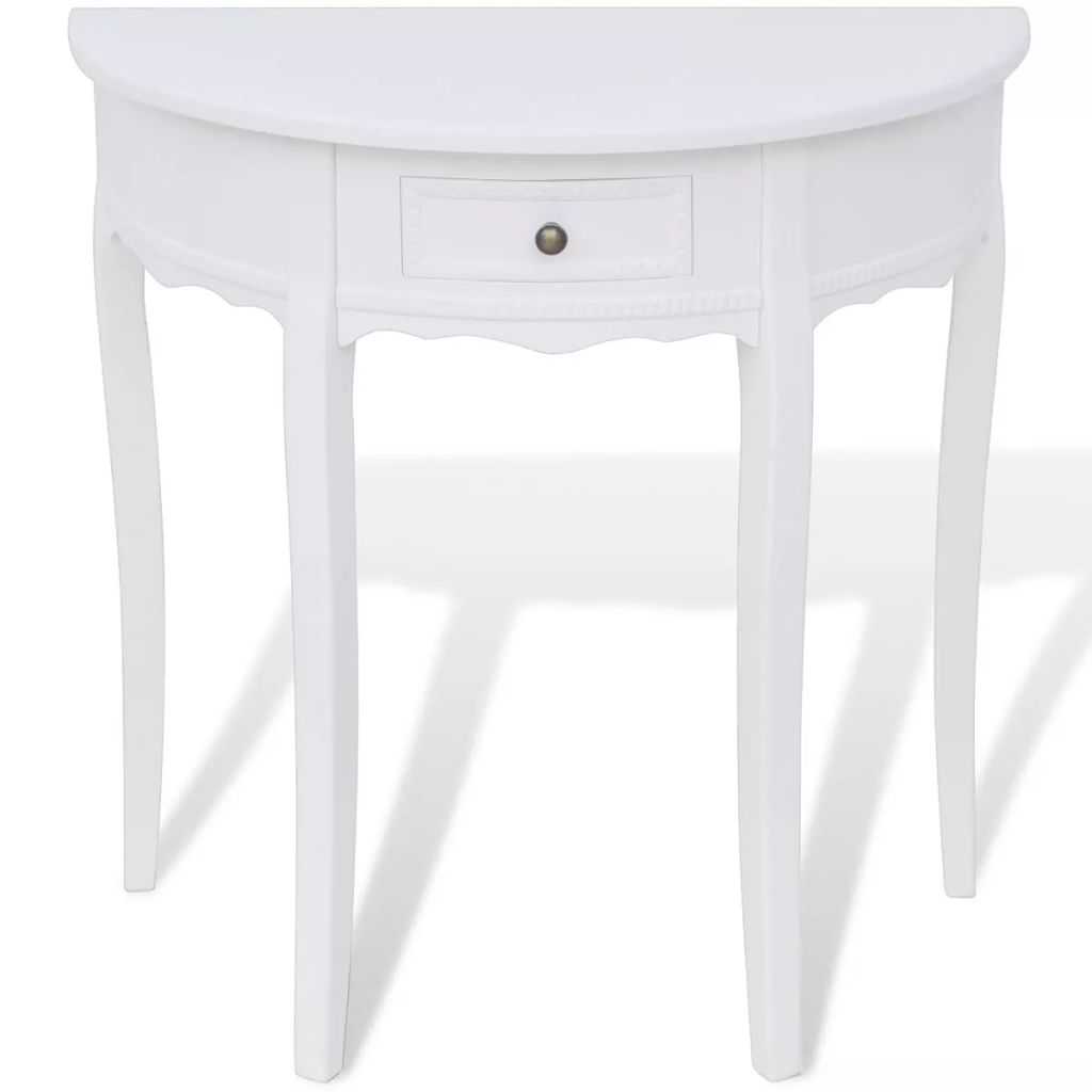 Console Table with Drawer Half-round White 2