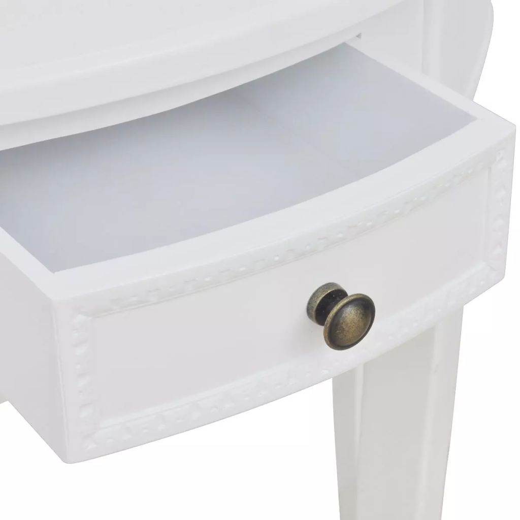 Console Table with Drawer Half-round White 3
