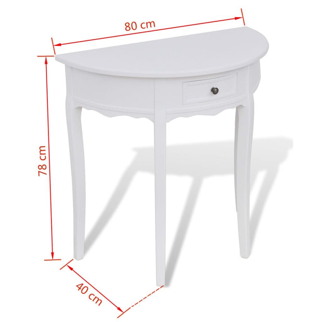 Console Table with Drawer Half-round White 4