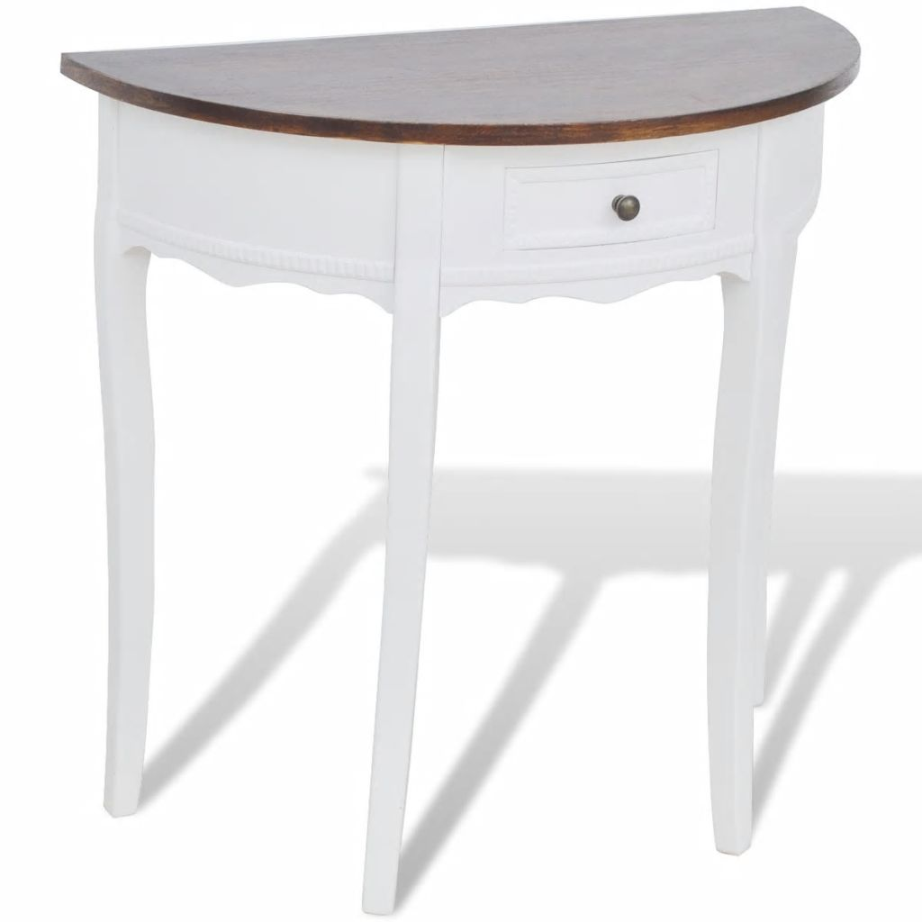 Console Table with Drawer and Brown Top Half-round