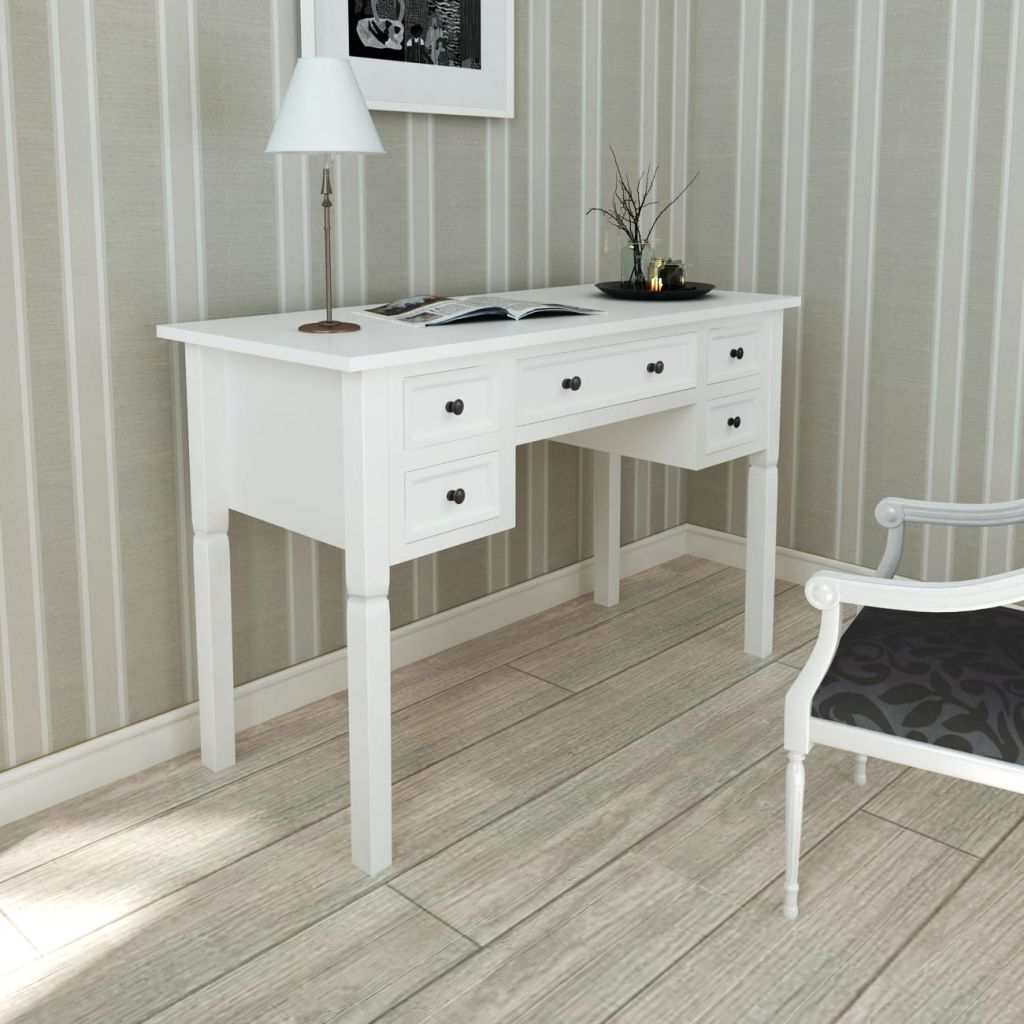 White Writing Desk with 5 Drawers 1