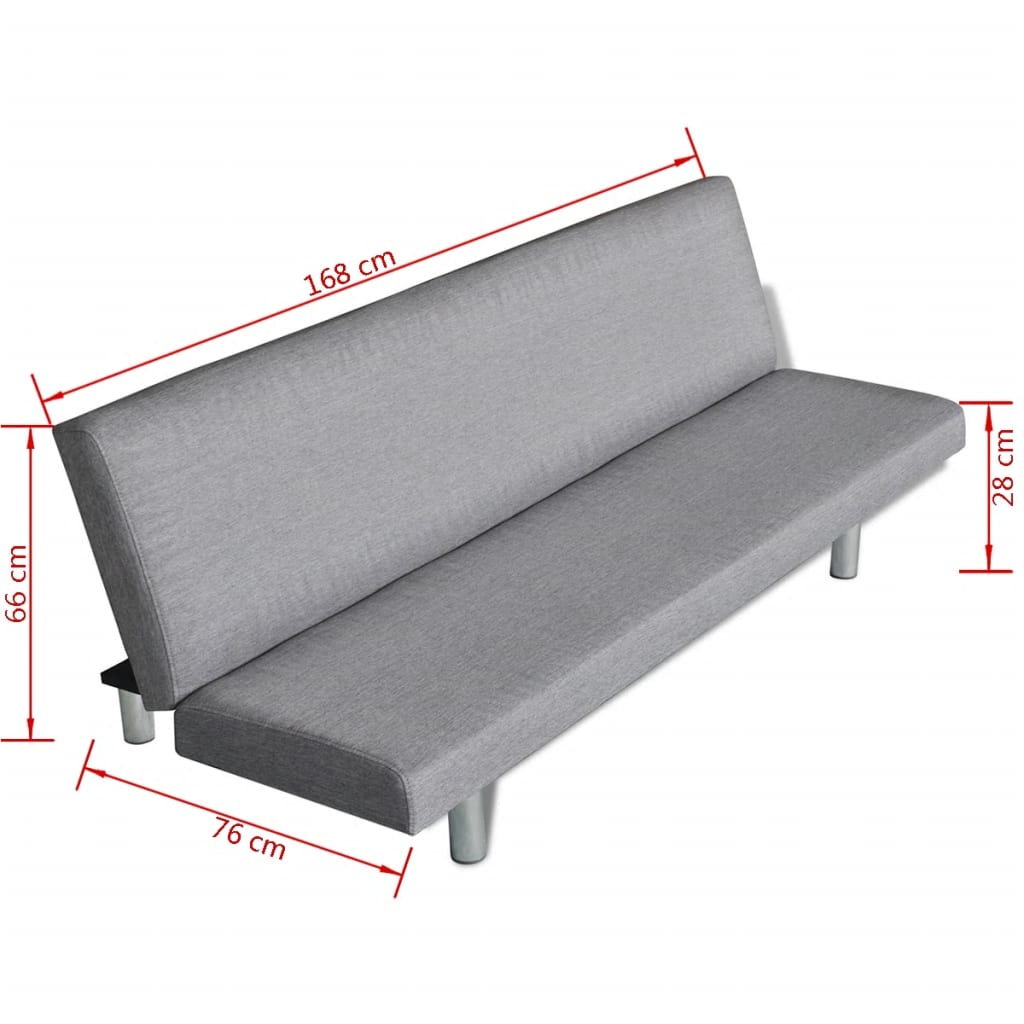 Sofa Bed Light Grey Polyester 6