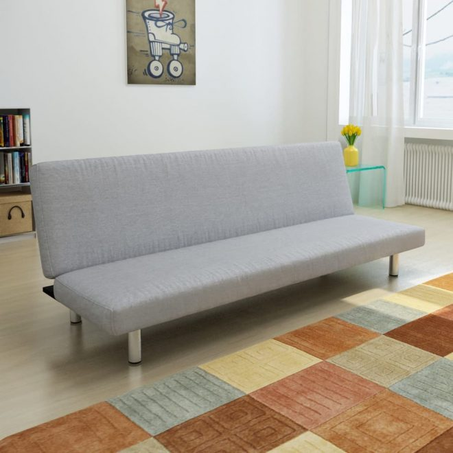 Sofa Bed Light Grey Polyester 1