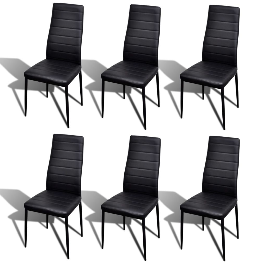 Dining Chairs 6 pcs Black Faux Leather 2