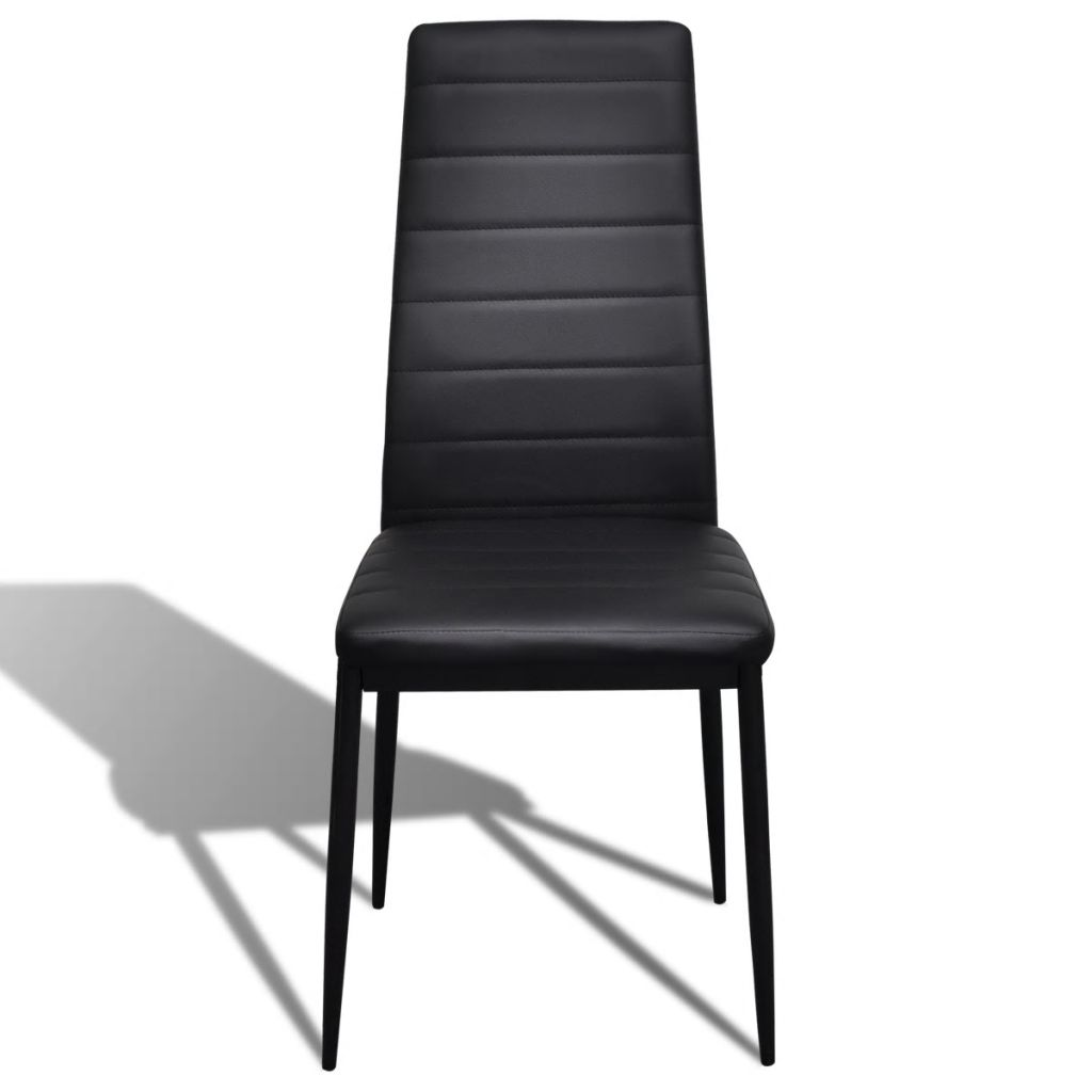 Dining Chairs 6 pcs Black Faux Leather 3