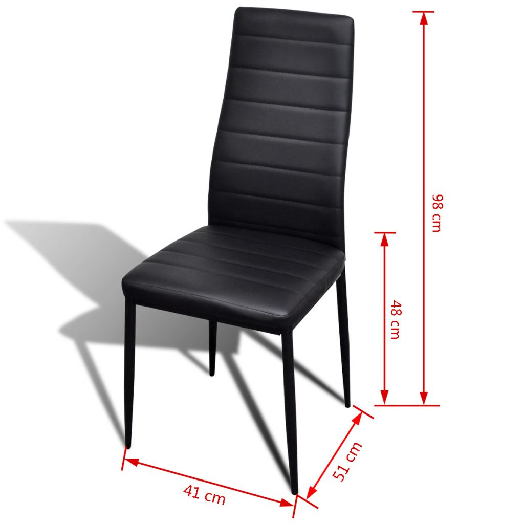Dining Chairs 6 pcs Black Faux Leather 8