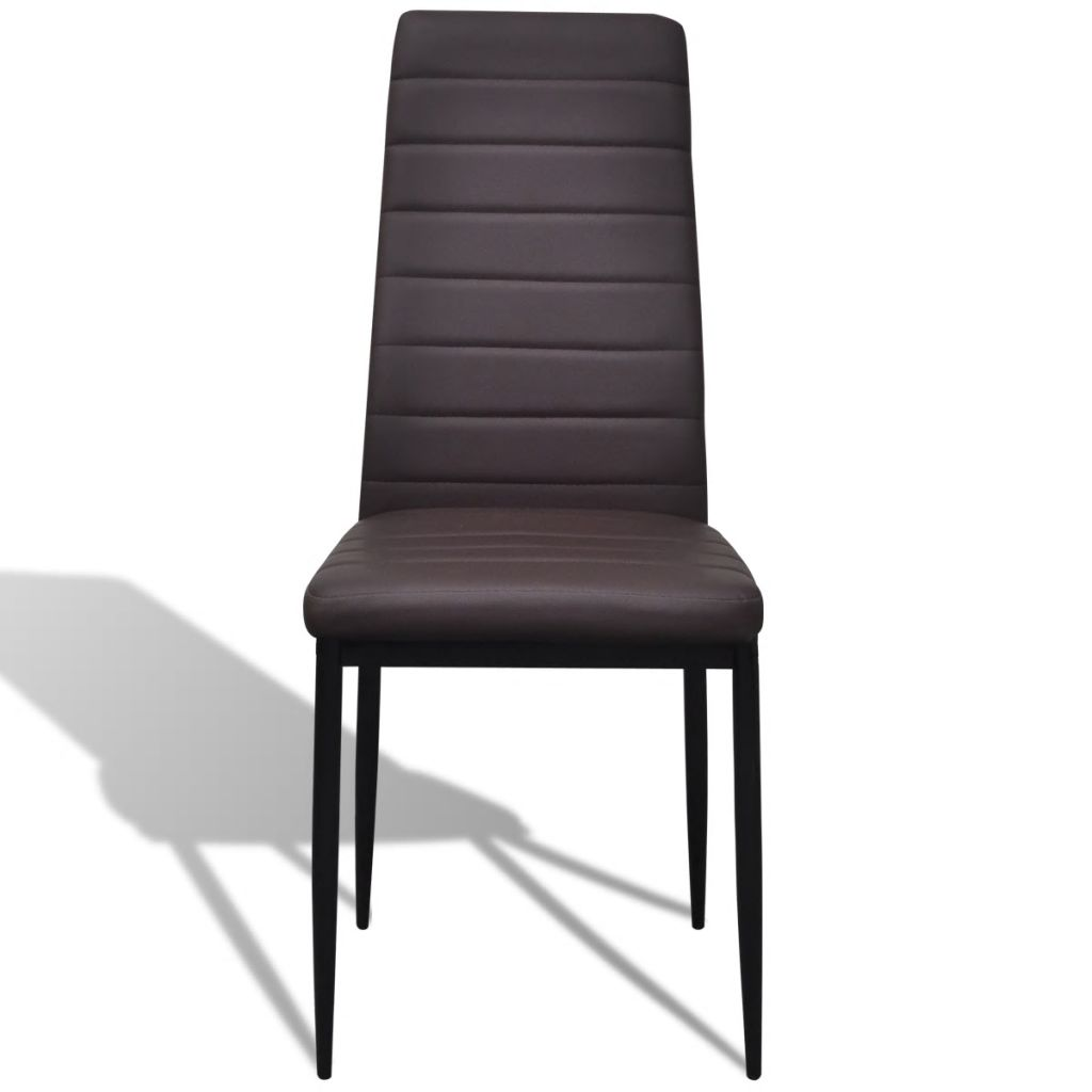 Dining Chairs 6 pcs Brown Faux Leather 3