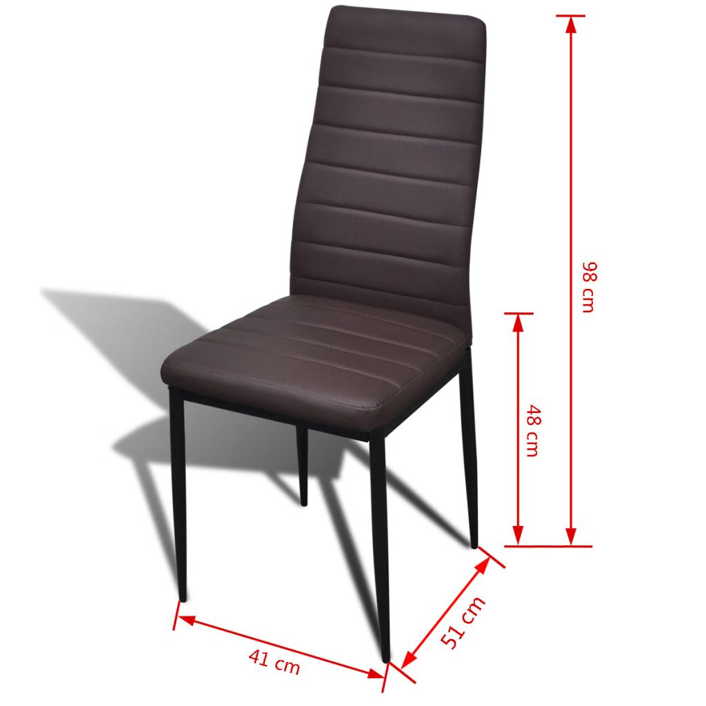 Dining Chairs 6 pcs Brown Faux Leather 8