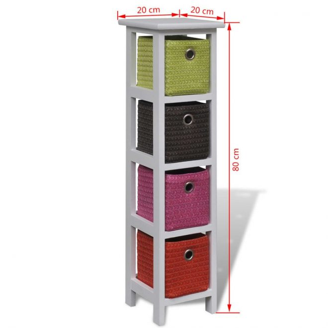 Storage Rack with Multi-colour Baskets Wood 4