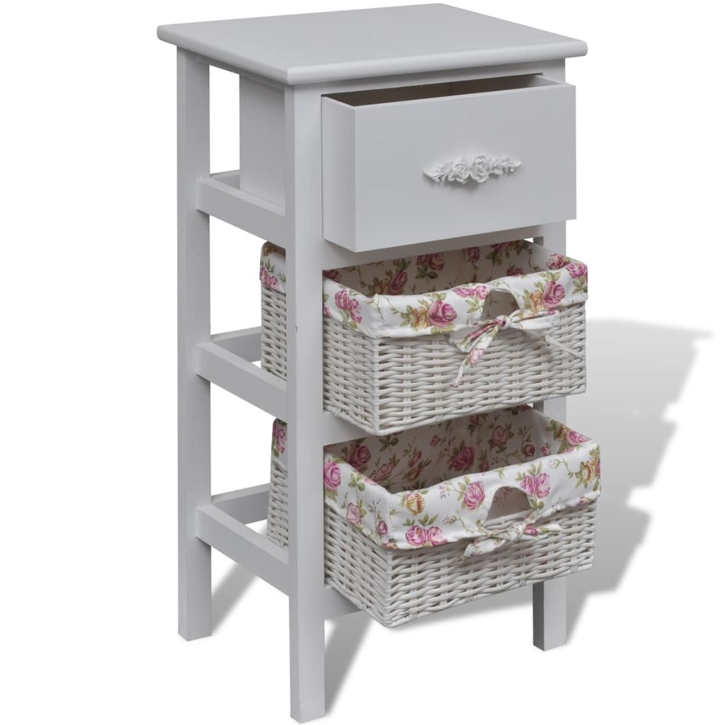 Cabinet with 1 Drawer and 2 Baskets White Wood 3
