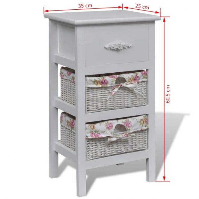 Cabinet with 1 Drawer and 2 Baskets White Wood 6