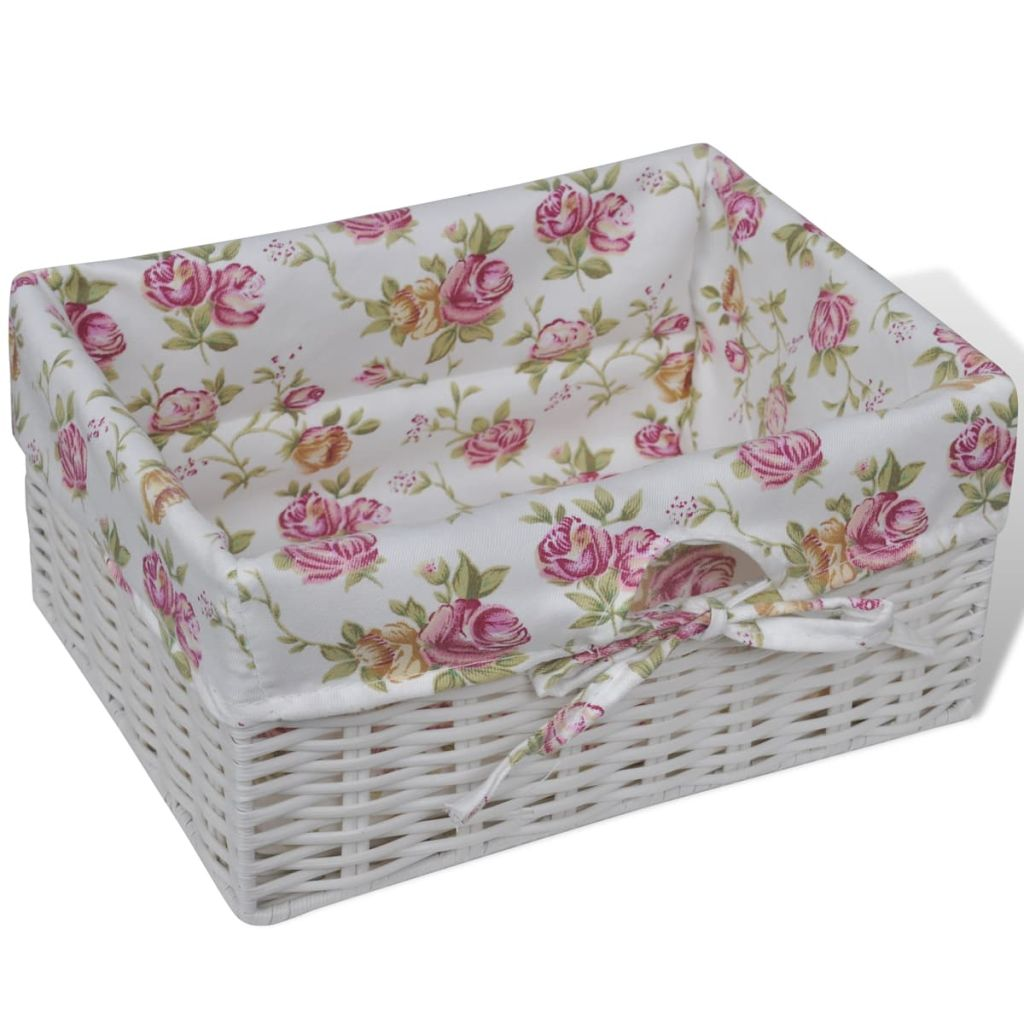 Cabinet with 1 Drawer and 3 Baskets White Wood 5