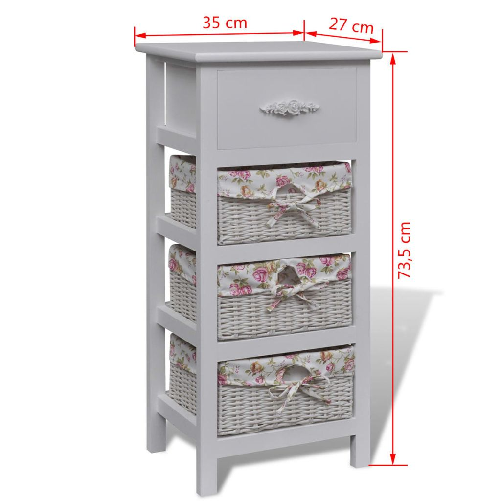 Cabinet with 1 Drawer and 3 Baskets White Wood 6