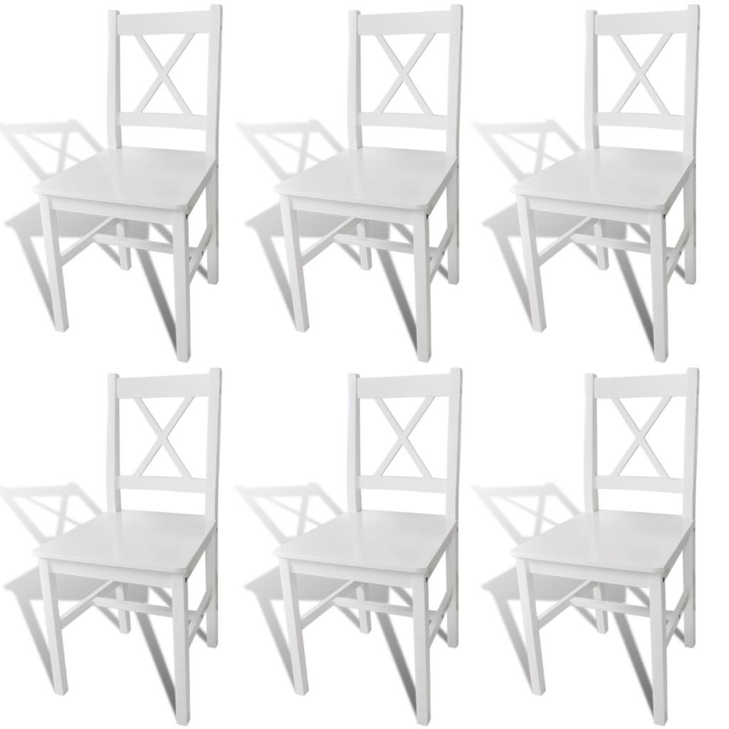 Dining Chairs 6 pcs White Pinewood 1