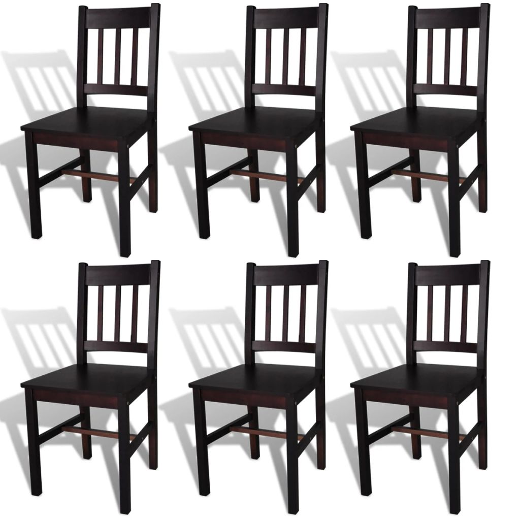 Dining Chairs 6 pcs Brown Pinewood 1