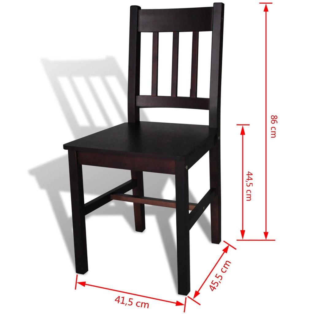 Dining Chairs 6 pcs Brown Pinewood 5