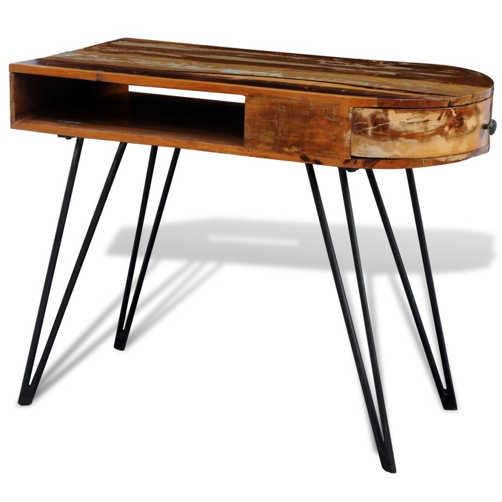 Reclaimed Solid Wood Desk with Iron Pin Legs