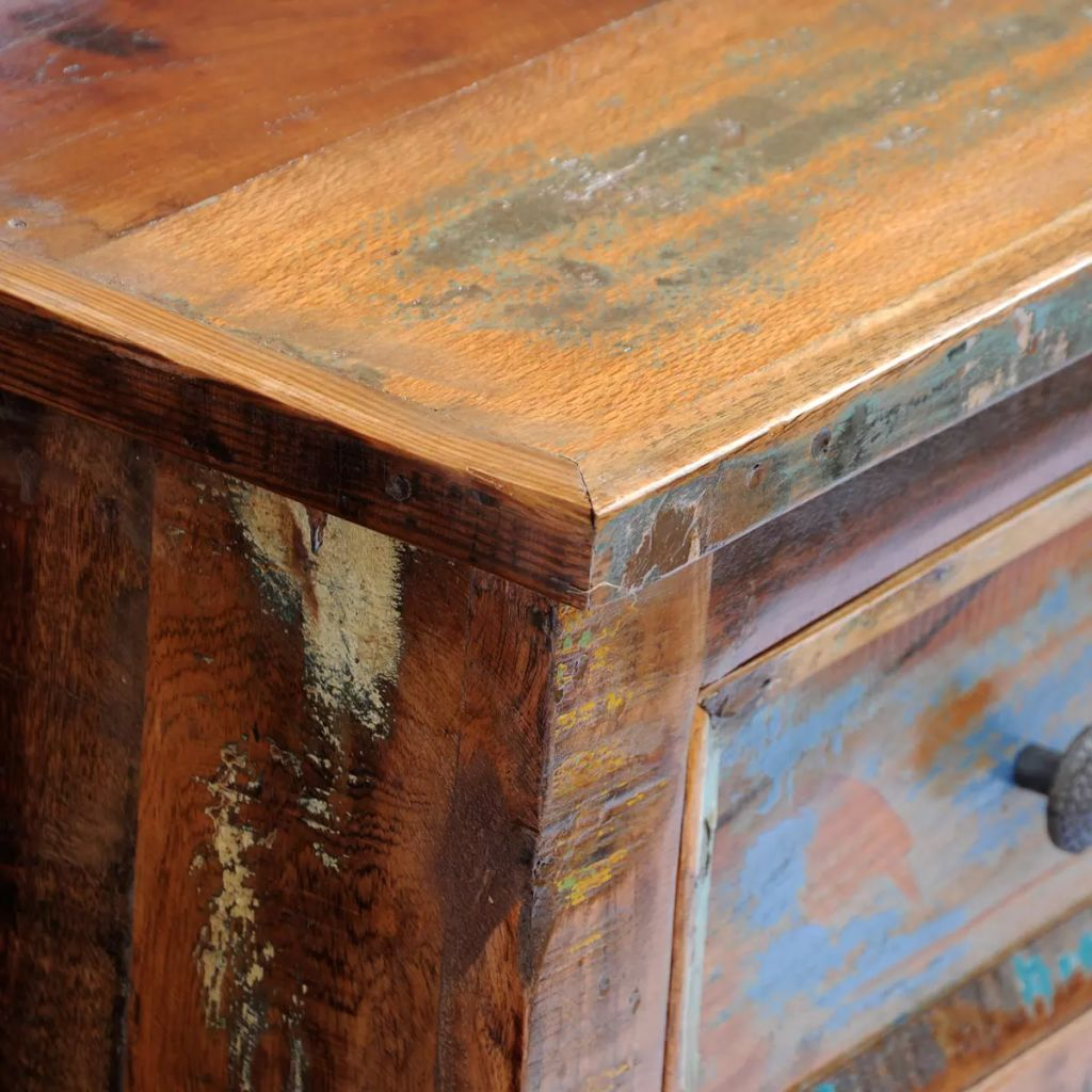 Nightstand with 2 Drawers Solid Reclaimed Wood 2