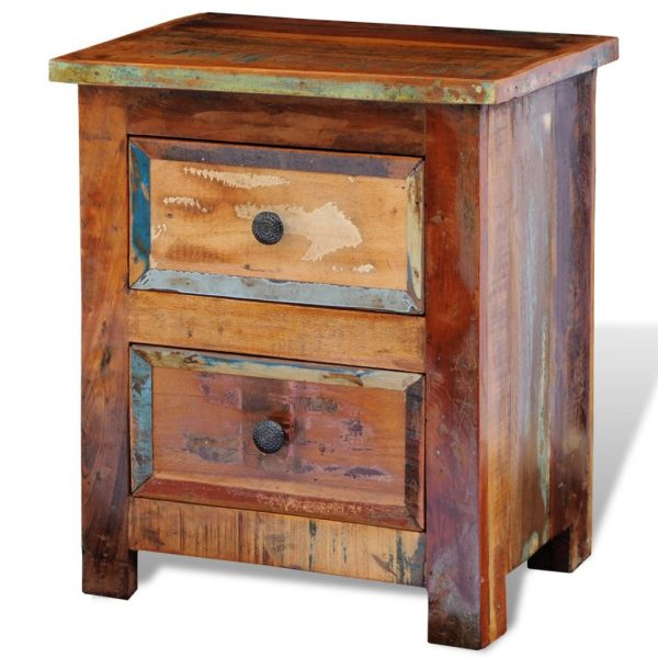 Nightstand with 2 Drawers Solid Reclaimed Wood 4
