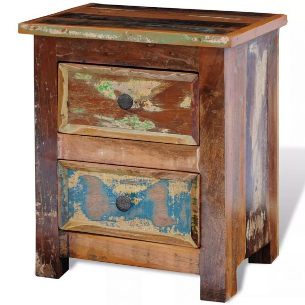 Nightstand with 2 Drawers Solid Reclaimed Wood 5