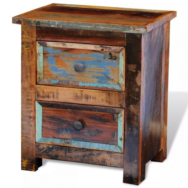 Nightstand with 2 Drawers Solid Reclaimed Wood 6