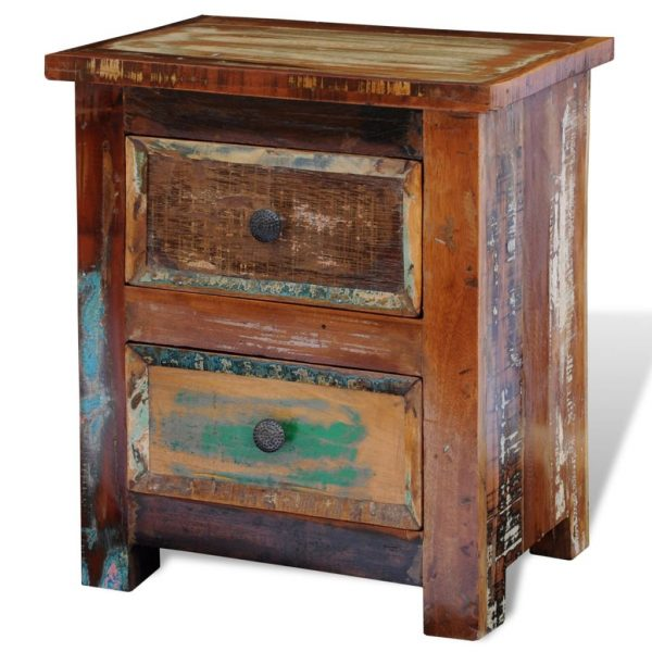 Nightstand with 2 Drawers Solid Reclaimed Wood 7