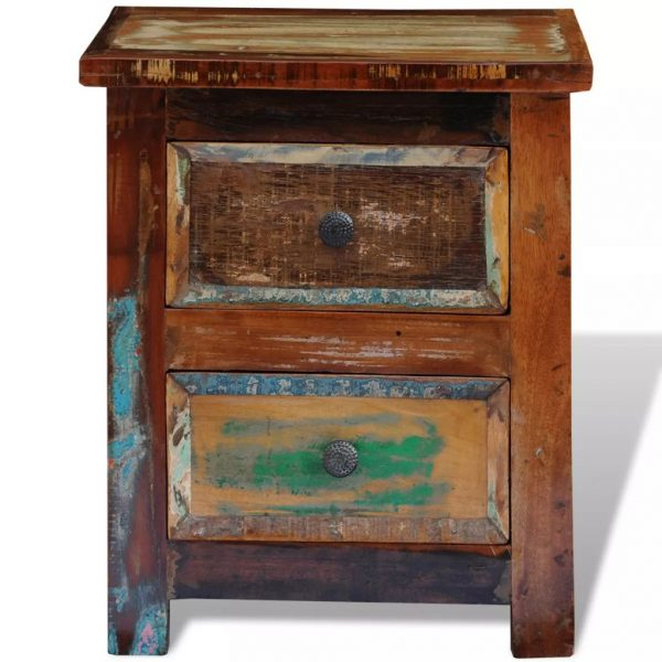 Nightstand with 2 Drawers Solid Reclaimed Wood 8