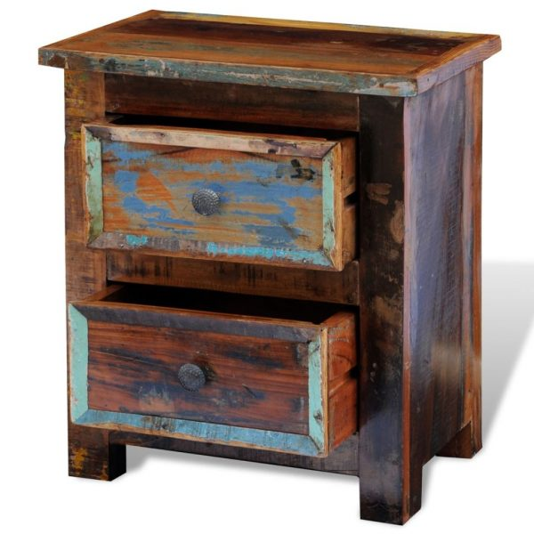 Nightstand with 2 Drawers Solid Reclaimed Wood 9