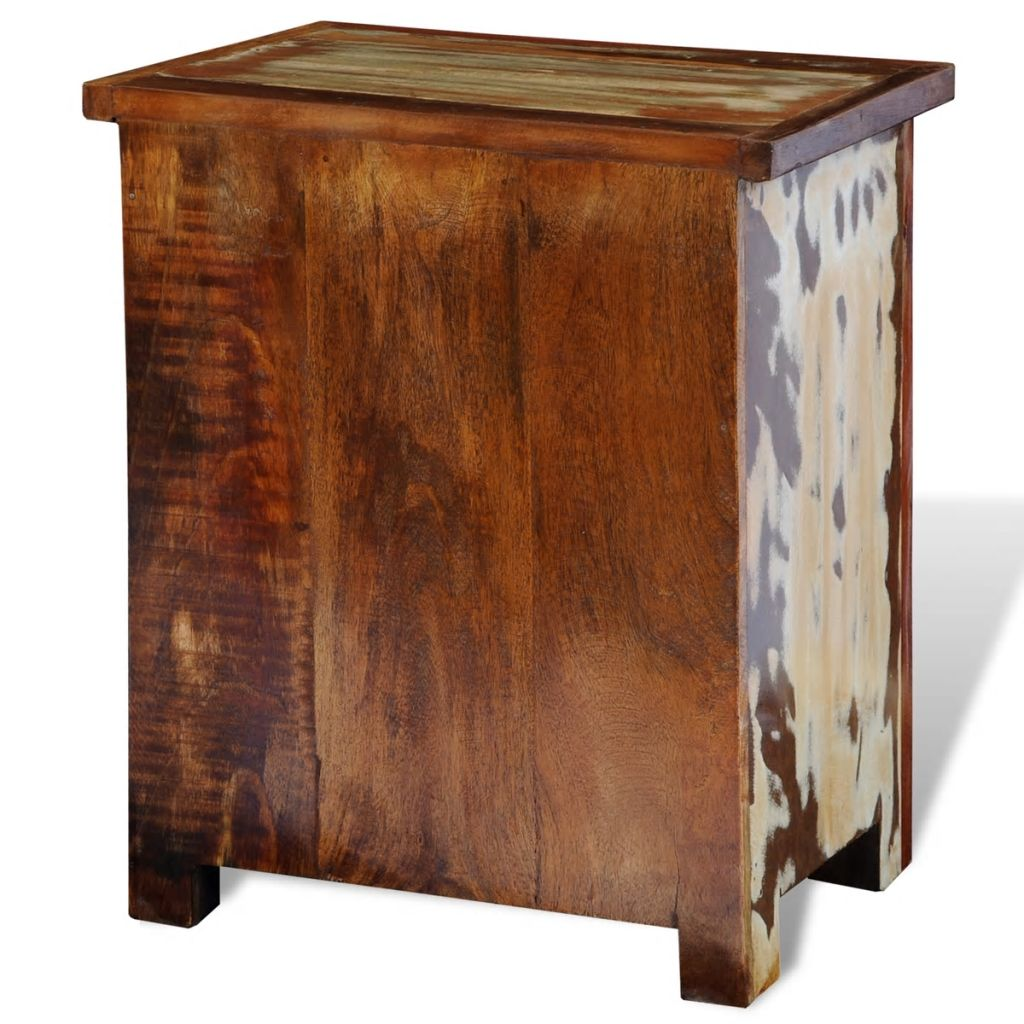 Nightstand with 2 Drawers Solid Reclaimed Wood 10