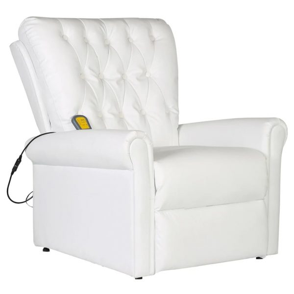 Massage Chair White Faux Leather 1